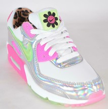 New Nike Women's Air Max 90 LX Holographic Leopard Daisy Sneakers Shoes 7.5 - $123.85