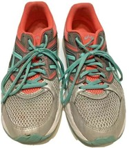 ASICS Gel Women's Athletic Running Training Shoes Gray Pink Teal Size 9.5 - $30.42