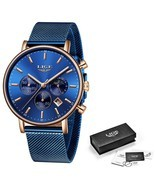 LIGE Women Fashion Blue Quartz Watch Lady Mesh Watchband High Quality Ca... - $36.97