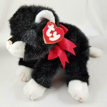Ty Classic Beanie Buddy BOOTS Plush Black and White Cat Red Bow 1997 Retired - $27.99