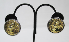 Lion Head Clip On Earrings Gold Tone Image Silver Tone Back Round Disk V... - $8.90