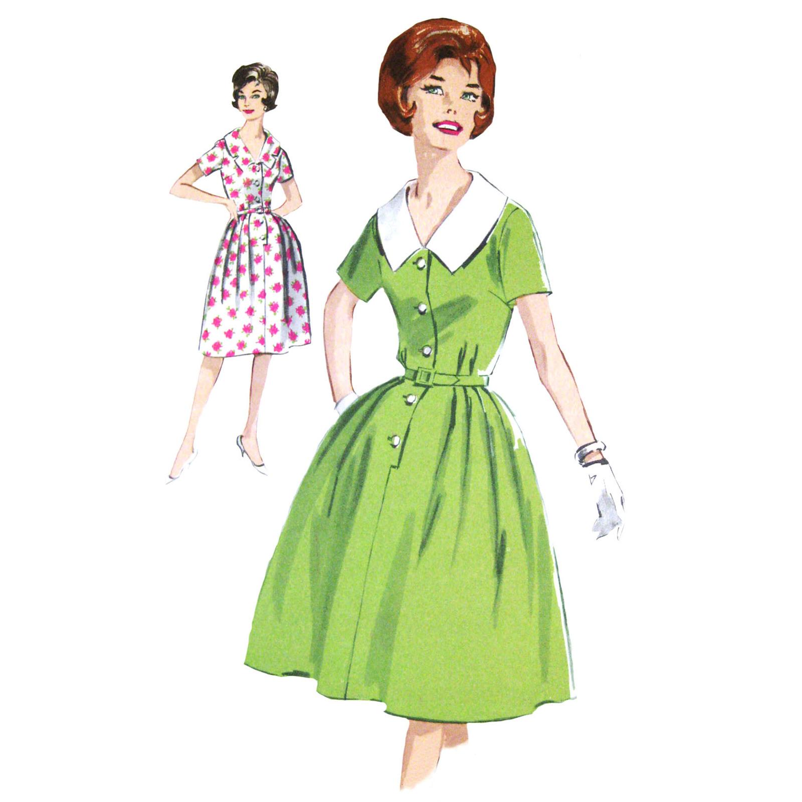 Vintage 60s Advance 2950 Misses Shirtwaist Dress Short Sleeve V-Neck 16/36