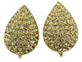 Vintage Christian Dior Pave Crystal Encrusted Tear Drop Shaped Clip Back... - $89.99