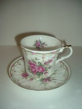 Allyn Nelson Collection England Cup and Saucer Bone China Pink Roses - $19.99
