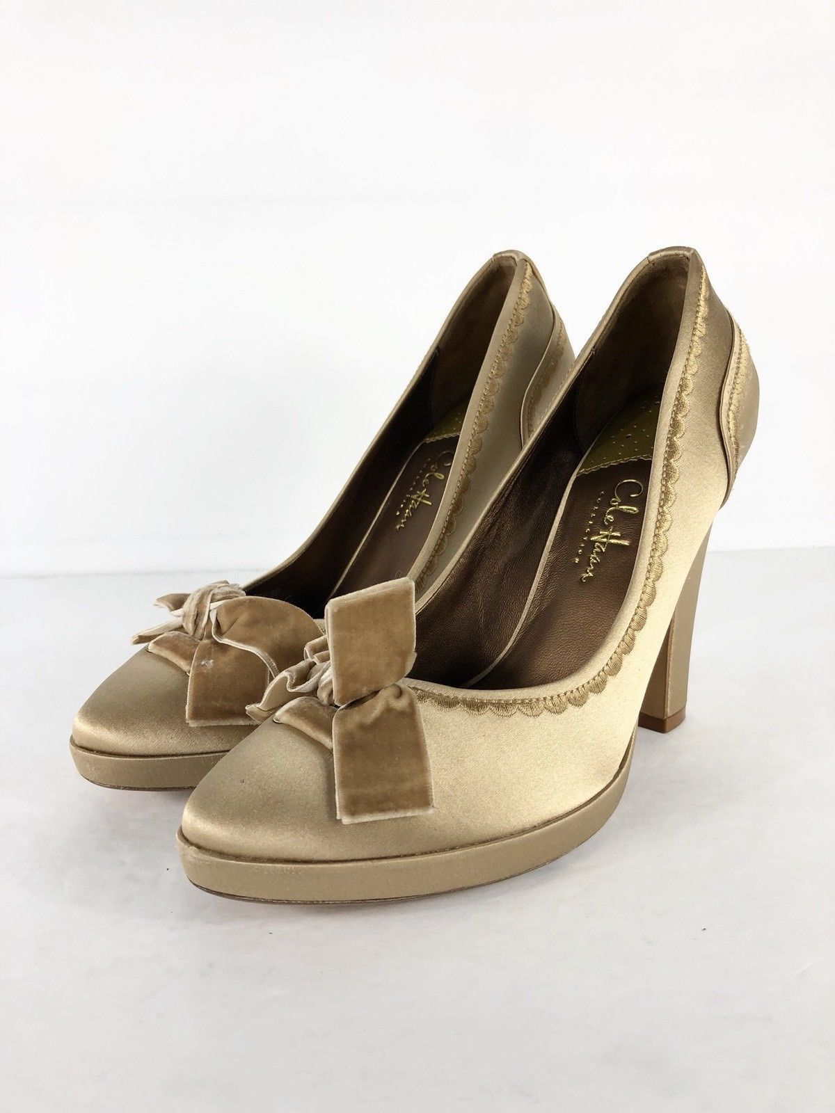 9f3d1a0f158 S l1600. S l1600. Previous. Cole Haan Collection Anabel Womens Pump High  Heels Tan Gold Satin Bow Sz ...