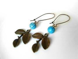Brass Branch Turquoise Bead Earrings Antique Brass Leaf Earrings Bohemia... - $24.00