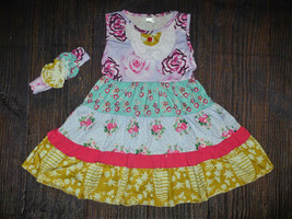NWT Boutique Girls Tiered Floral Sleeveless Ruffle Dress Headband Set - $19.99