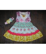 NWT Boutique Girls Tiered Floral Sleeveless Ruffle Dress Headband Set - $19.99