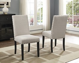 Roundhill Furniture Biony Tan Fabric Dining Chairs with Nailhead Trim, S... - $155.57
