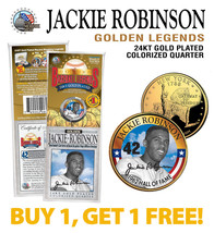 JACKIE ROBINSON Golden Legends 24K Gold Plated New York State Quarter Co... - $15.79