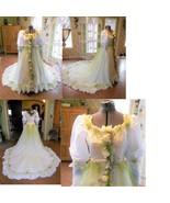 Vintage wedding dress gown fairy OOAK fantasy w head wreath white apple ... - $175.00