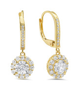 3.45 ct Round Cut Simulated Diamond Drop Dangle Earrings Solid 10K Yello... - $178.19