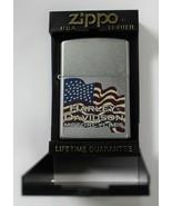 Harley Davidson Motorcycles Silver Zippo Lighter American Flag E 06 Hard... - $24.99