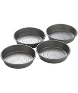 "Non Stick Pepperoni Perforated Deep Dish Pizza Pan 7"" 4 pc Set Grey Color - $45.95"
