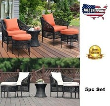 Patio Curved Arm Chairs Clearance Furniture Sets Rattan Stool Ottoman So... - $491.66
