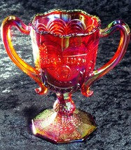 Fenton Carnival Glass Red Loving Cup 1979 HOACGA Souvenir Good Luck Pattern - $64.35