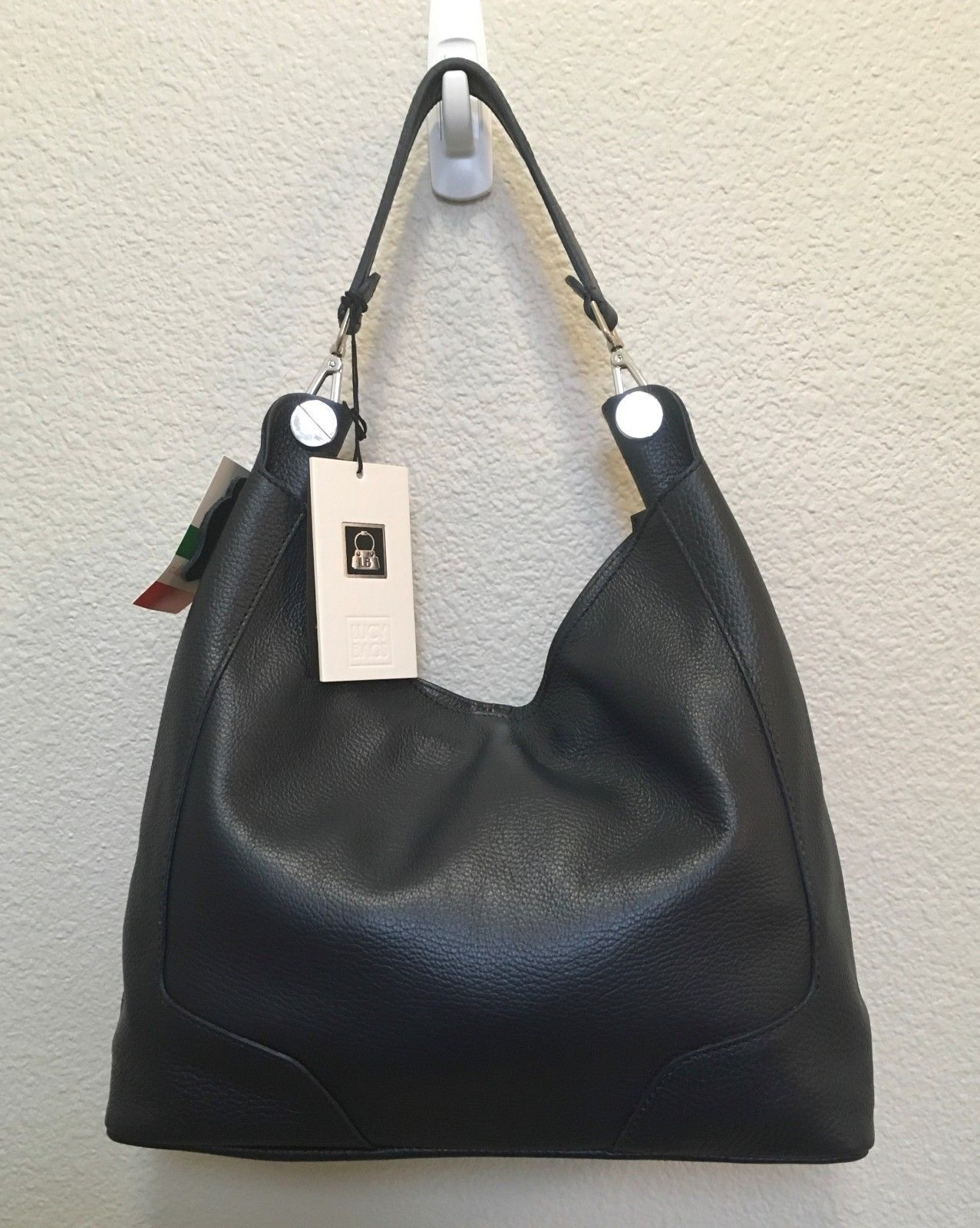New Navy Blue Made in Italy Pebbled Leather Hobo Handbag Shoulder Bag Purse