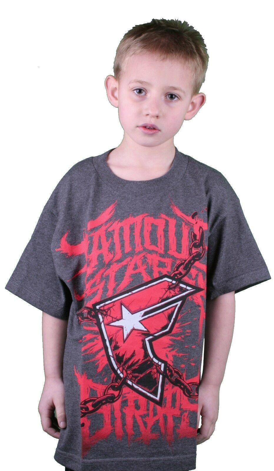 Famoso Stars Y Correas Gris Carbón Rojo Guerra Stories Juventud Niño Camiseta