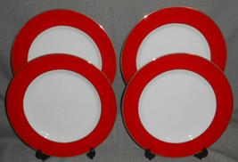 Set (4) Fitz & Floyd ADIRONDACK RED PATTERN Dinner Plates - $227.69