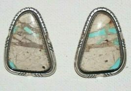 Navajo signed WJ Johnson Sterling Silver 925 Ribbon Turquoise Earrings 17g - $79.50