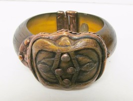 MAYA Cuff Bracelet Copper Brass Face Brown Magnetic Closure Vintage - $79.95