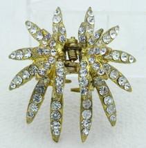VTG Gold Tone Clear Rhinestone Star Hair Clip - $17.82