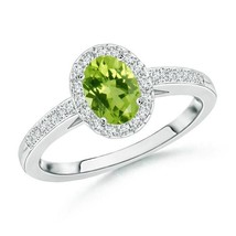 0.68ct Oval Peridot Diamond Halo Engagement Ring Gold/Platinum - $819.38+