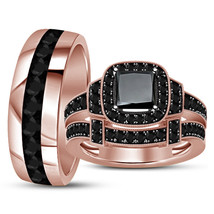 14k Rose Gold Finish 925 Real Silver His Her Wedding Black Diamond Trio ... - $152.99