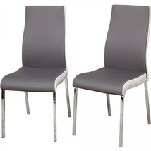 Modern Dining Chair Set of 2 Gray White Metal Faux Leather Seat Kitchen ... - €148,45 EUR