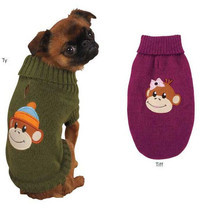 MONKEY BUSINESS DOG SWEATER Pet Winter Warm Green Raspberry sweaters Pet - $25.99