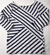 Gymboree Striped Geometric Shirt Sz 7 Navy Blue White - $13.10