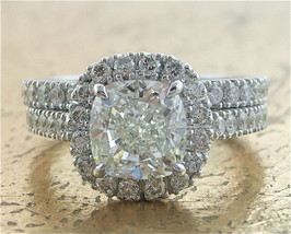 Certified 3.60Ct White Cushion Diamond Engagement Wedding Ring in 14k Wh... - £257.71 GBP