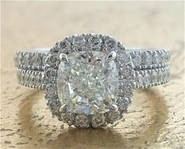 Certified 3.60Ct White Cushion Diamond Engagement Wedding Ring in 14k Wh... - €308,17 EUR