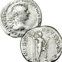 TRAJAN / VIRTUS holding Spear, dagger. Ancient Roman Empire Silver Denar... - $125.10