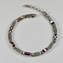 Hommes Bracelet en Argent 925 Rhodium avec Drapeaux Nautique Émaillés 20 CM - $174.30
