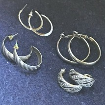 Lot of 4 Medium Etched Smooth Faux Marcasite Silvertone HOOP Earrings fo... - $13.99