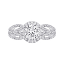 Solid 14K White Gold 1.60Ct Round Cut Halo Solitaire Diamond Engagement ... - $329.99
