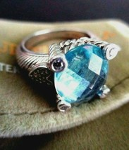 JUDITH RIPKA BLUE CRYSTAL DIAMONIQUE HEARTS 925 SILVER RING ~ 7 JR POUCH... - $154.95