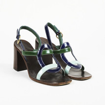 Miu Miu Brown Green Patent Leather Slingback Sandals SZ 40 - $105.00