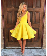 Sexy Yellow Short Cocktail Dresses Ball Gowns Prom Party Dresses V Homec... - $118.00