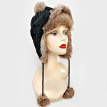 Black Crochet Fur Pom Pom Bomber Hat Cap - $16.00