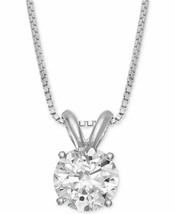 "1.00CTW Round Brilliant Moissanite 14K Solid White Gold Pendant 18"" Box ... - $899.00"