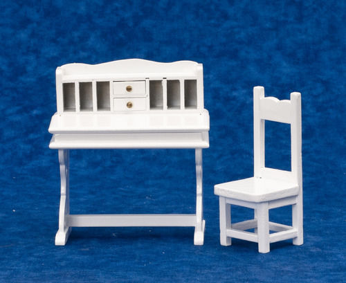 DOLLHOUSE MINIATURES 2 PC WHITE DESK AND CHAIR SET #T5351