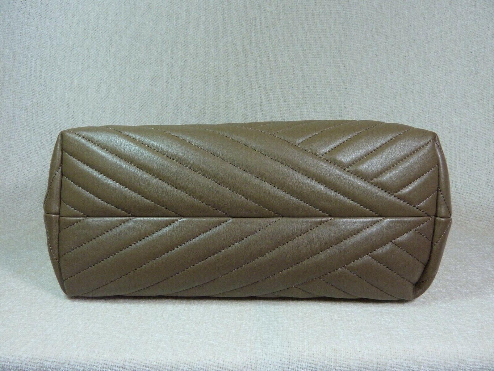 NWT Tory Burch Classic Taupe Kira Chevron Tote $598 image 9