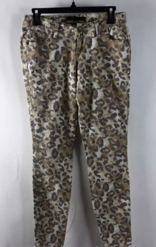 Material Girl Leopard Print Brown Skinny Ankle Crop Pants Sz5