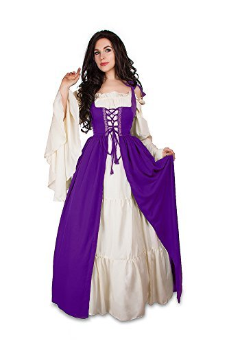 Mythic Renaissance Medieval Irish Costume Over Dress & Cream Chemise Set (S/M, P