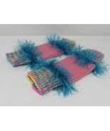 Handcrafted Knitted Legwarmers Pink/Teal Fuzzy Female Kids 0-1 Striped - $25.94