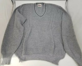 Vintage Mens Gray Sweater V Neck Walkers Old School 1960s Large - $18.93