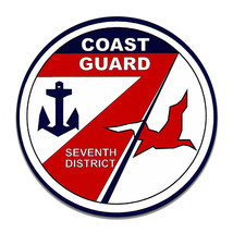 United States Coast Guard 7th Seventh District Round MDF Wood Sign - $29.65