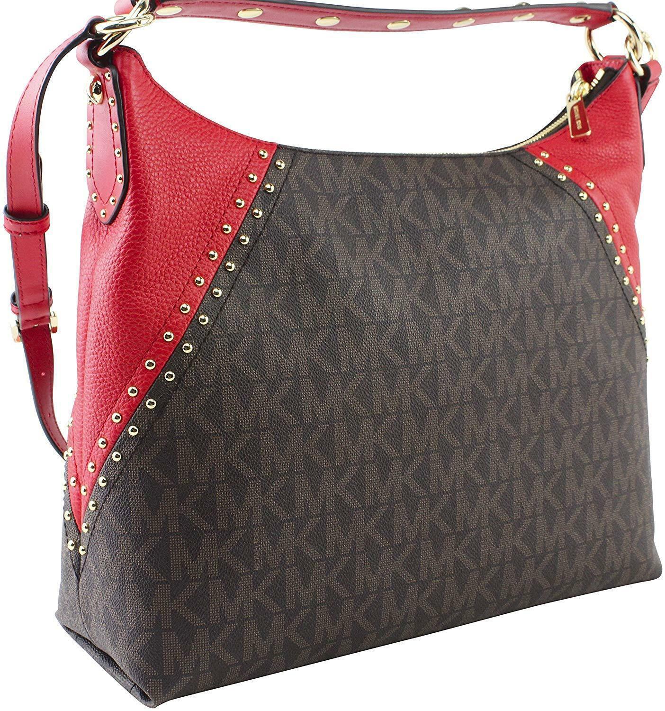 b3d10cc42adbb6 NWT Michael Kors Aria Signature Shoulder Bag Brown/Red + 25%off your next